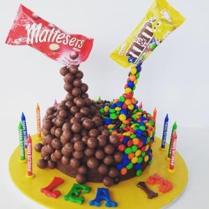 M&Ms + Maltesers cake